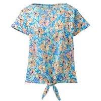 Print Linen/Cotton Tie Front T-shirt, Women, Size: 10-12 Regular, Blue, by Lands' End