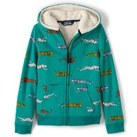 Patterned Sherpa-lined Hoodie, Kids, Size: 12-13 yrs Kid, Blue, Cotton-blend, by Lands' End.