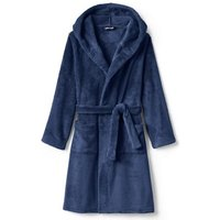 Hooded Fleece Dressing Gown, Kids, Size: 5-6 yrs Boy, Blue, Polyester, by Lands' End