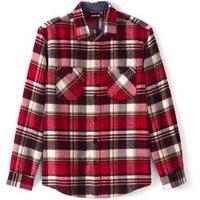 Flannel Work Shirt, Men, Size: 46-48 Regular, Red, Cotton, by Lands' End