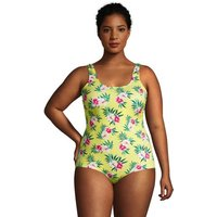 Chlorine Resistant Tugless Swimsuit, Women, Size: 22 Plus, Yellow, Nylon-blend, by Lands' End