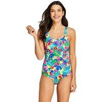 Chlorine Resistant Tugless Swimsuit, Print, Women, Size: 8 Regular, White, Nylon-blend, by Lands'End