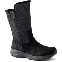 Everyday Quilted Winter Boots, Women, Size: 7 Regular, Black, Polyester, by Lands' End