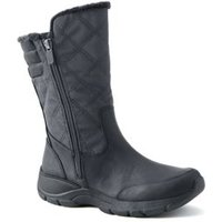 Everyday Quilted Winter Boots, Women, Size: 4.5 Regular, Grey, Polyester, by Lands' End