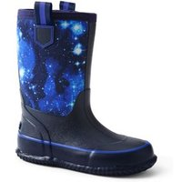 Insulated Wellies, Kids, Size: 12 Boy, Blue, Rubber, by Lands'End, Blue Galaxy Space