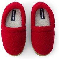 Sherpa Fleece Slippers, Kids, Size: 3 Boy, Red, Rubber, by Lands' End
