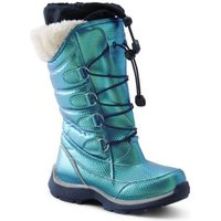 Snowflake Winter Boots, Kids, Size: 4 Girl, Green, Rubber, by Lands'End, Teal Iridescent