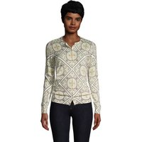 Supima Print Long Sleeve Cardigan, Women, Size: 16-18 Petite, Ivory, Cotton, by Lands' End