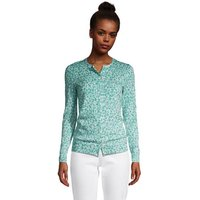 Supima Print Long Sleeve Cardigan, Women, Size: 16-18 Petite, Green, Cotton, by Lands' End