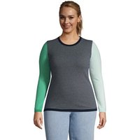 Long Sleeve Stripe Cashmere Jumper, Women, Size: 20-22 Plus, Blue, by Lands' End