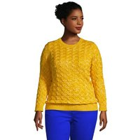 Cotton Cable Jumper, Women, Size: 20-22 Plus, Yellow, by Lands' End