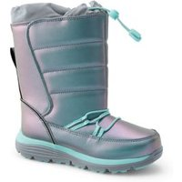 Snow Flurry Boots, Kids, Size: 3 Boy, Polyester, by Lands'End, Iridescent