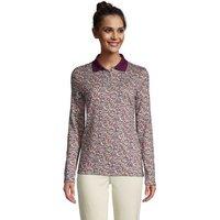 Long Sleeve Supima Cotton Polo Shirt, Women, Size: 14-16 Regular, Purple, by Lands' End