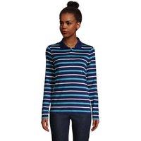 Long Sleeve Supima Cotton Polo Shirt, Women, Size: 14-16 Regular, Blue, by Lands' End