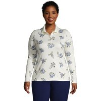 Long Sleeve Supima Cotton Polo Shirt, Women, Size: 24-26 Plus, Ivory, by Lands'End, Ivory Floral