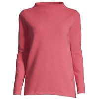 Ottoman Rib Jersey Funnel Neck Top, Women, Size: 20-22 Plus, Red, Cotton-blend, by Lands' End