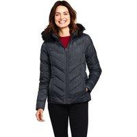 Lands' End Women's Faux Fur Hooded Down Jacket - 8, Brown