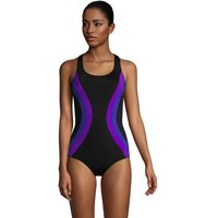 Chlorine Resistant Scoop Neck Athletic Swimsuit, Women, Size: 10 Regular, Black, Poly-blend, by Land