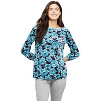 Print Velour Boat Neck Top, Women, Size: 10-12 Petite, Blue, Poly-blend, by Lands' End