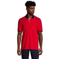 Stretch Pique Polo Shirt, Contrast Collar, Men, Size: 34 - 36 Regular, Red, Cotton, by Lands' End