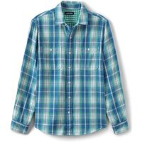 Double Cloth Work Shirt, Men, Size: 34 - 36 Regular, Green, Cotton, by Lands' End