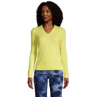 Cashmere V-neck Jumper, Women, Size: 8 Regular, Yellow, by Lands' End