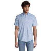 Short Sleeve Cotton Shirt, Men, Size: 34-36 Regular, Blue, by Lands' End