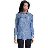 Pure Linen Roll Sleeve Utility Shirt, Women, Size: 10-12 Regular, Blue, by Lands' End
