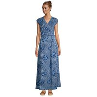Cotton-modal Jersey Twist Wrap Maxi Dress, Print, Women, Size: 16-18 Petite, Blue, by Lands' End
