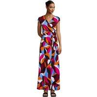 Cotton-modal Jersey Twist Wrap Maxi Dress, Print, Women, Size: 14-16 Regular, Red, by Lands' End