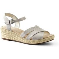 Canvas Espadrille Wedge Sandals, Women, Size: 6.5 Wide, Tan, Linen, by Lands' End