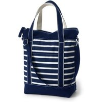 Lightweight Print Canvas Crossbody Tote, Women, Blue, Cotton, by Lands' End