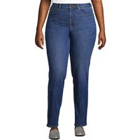 Slimming Jeans, High Waisted Straight Leg, Women, Size: 28/32 Plus, Blue, Spandex, by Lands' End