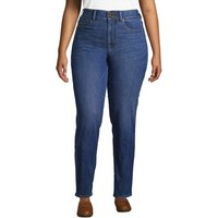 Slimming Jeans, High Waisted Straight Leg, Women, Size: 20/30 Plus, Blue, Spandex, by Lands' End