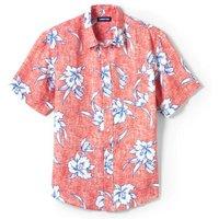 Short Sleeve Linen Shirt, Men, Size: 34 - 36 Regular, Red, by Lands' End