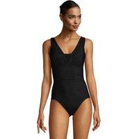 Grecian V-neck Slender Swimsuit - DD Cup, Women, Size: 16 Regular, Black, Spandex, by Lands' End