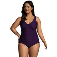 Grecian V-neck Slender Swimsuit, Women, Size: 26 Plus, Purple, Spandex, by Lands' End