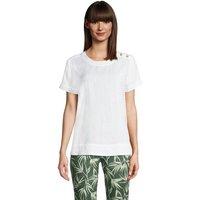 Short Sleeved Linen T-shirt, Women, Size: 10-12 Regular, White, by Lands' End