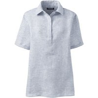 Linen Popover Shirt, Women, Size: 10-12 Regular, White, by Lands' End