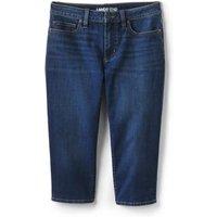 Mid Rise Stretch Denim Capris, Women, Size: 12 Regular, Blue, Cotton-blend, by Lands' End