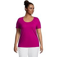 Linen Blend U-neck T-shirt, Women, Size: 20-22 Plus, Purple, by Lands' End