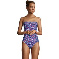 Draper James Bandeau Swimsuit, Women, Size: 10 Regular, Blue, Poly-blend, by Lands' End