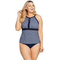 Draper James  Keyhole High Neck Tankini Top, Women, Size: 20 Plus, Blue, Nylon-blend, by Lands' End