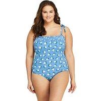 Draper James Bandeau Swimsuit, Women, Size: 28 Plus, Blue, Poly-blend, by Lands' End