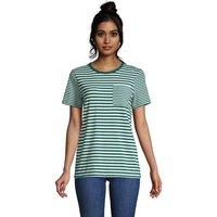 Cotton Modal Short Sleeve Pocket T-shirt, Women, Size: 10-12 Petite, Green, by Lands' End
