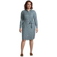 Cotton Flannel Shirt Dress, Women, Size: 24-26 Plus, Blue, by Lands' End