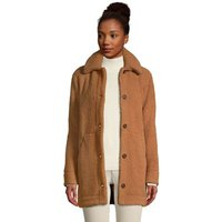 Cosy Sherpa Fleece Teddy Coat, Women, Size: 14-16 Regular, Brown, Polyester, by Lands' End.