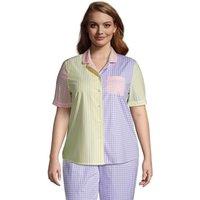 Short Sleeve Cotton Poplin Pyjama Shirt, Women, Size: 20-22 Plus, by Lands' End