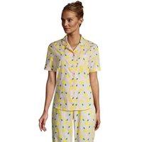 Short Sleeve Cotton Poplin Pyjama Shirt, Women, Size: 20 Regular, Pink, by Lands' End