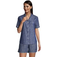 Short Sleeve Cotton Chambray Pyjama Shirt, Women, Size: 14-16 Petite, Blue, by Lands' End